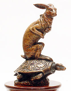 Hare on Tortoise - Bronze